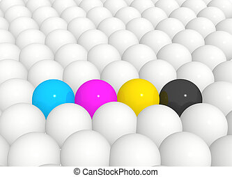 Spheres painted in colors of a palette CMYK