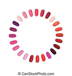 palette, coloré, clous, clou, réglé, circle., set.