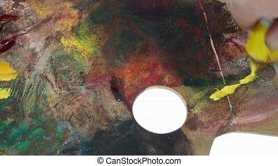 palette colors - oil colors palette over white