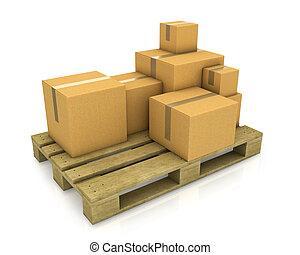 palette, différent, bois, dimensionner, boîtes, carton, pile