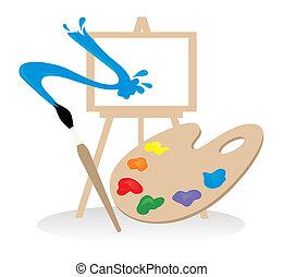 palette, drawing., abbildung, vektor, bürste, staffelei