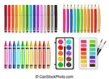 palette, ensemble, coloré, aquarelle, realistics, vecteur, stylo marqueur, outils