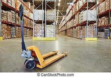 palette, entrepôt, stacker, camion