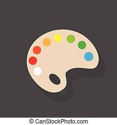 palette flat icon design vector illustration - palette paint...