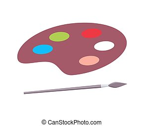 Palette for Paints and Paintbrush Vector Poster