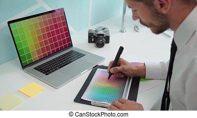palette., graphique, travaux, couleur, concepteur