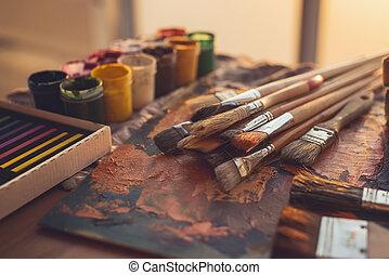 huile art coups pinceau palette peinture ensemble vue photo de stock rechercher. Black Bedroom Furniture Sets. Home Design Ideas