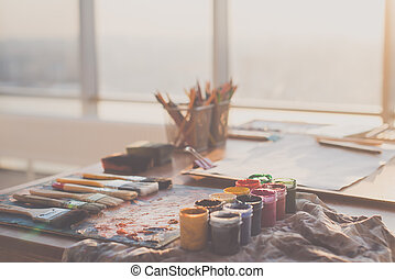 palette, huile, angle, gouache, peintures, photo, crayons, ...
