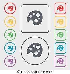 Palette icon sign. symbol on the Round and square buttons with frame. Vector