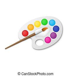 palette, illustration., artist's, vecteur, brosse, -