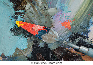 Palette knife with colors