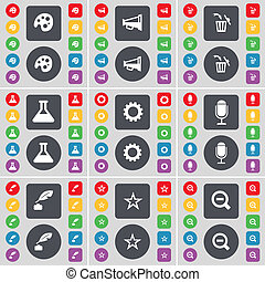 Palette, Megaphone, Trash can, Flask, Gear, Microphone, Inkpot, Star, Ink pot, Star, Magnifying glass icon symbol. A large set of flat, colored buttons for your design.