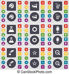 Palette, Megaphone, Trash can, Flask, Gear, Microphone, Inkpot, Star, Ink pot, Star, Magnifying glass icon symbol. A large set of flat, colored buttons for your design. Vector