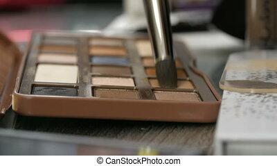 Palette of eyeshadow in brown tones. Special professional...