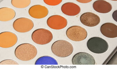 Palette of various make-up eyeshadow. Professional cosmetics...