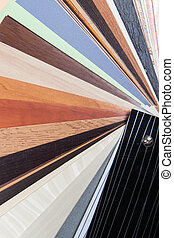 Palette of wooden colorful laminated samples - Close up of...