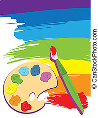 Paintbrush, palette on rainbow color painted canvas. Vector illustration. Brush, palette and painted canvas are layered.