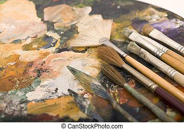 palette, paintbrush