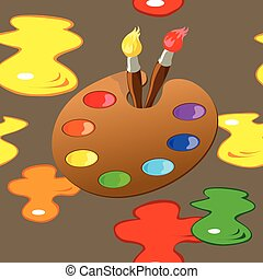 Palette, paintbrushes and paint spots seamless pattern