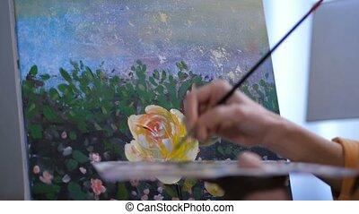 palette, peintre, brosse, tenant mains