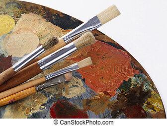 palette, pinsel
