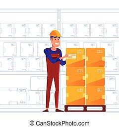 palette, rangement, boîtes, entrepôt, ouvrier