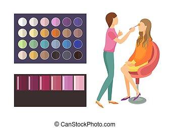 palette, sæt, visage, kvinde, makeup, klient, vektor