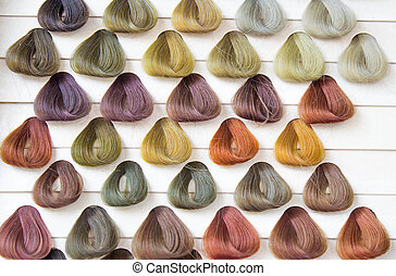 Palette samples of  hair color.