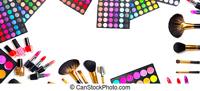 palette, satz, bunte, makeup., make-up, eyeshadows