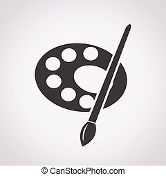 palette van de verf, borstel, pictogram