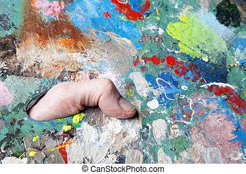 palette van de verf, borstels, kleurrijke