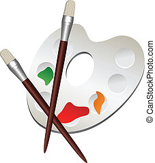 Palette with Brushes