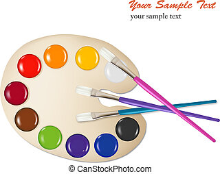 Palette with color paints and brushes. Vector illustration.
