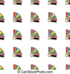 Palette with colors seamless pattern in cartoon style isolated on white background vector illustration