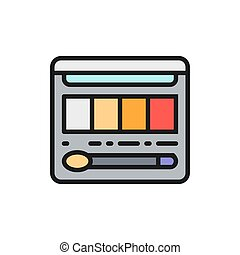 Vector palette with eyeshadows, blush and brush flat color line icon. Symbol and sign illustration design. Isolated on white background