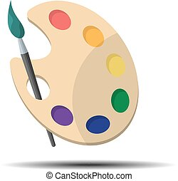 Palette with paint brush