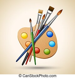 Art color palette with paintbrush drawing tools isolated on white background vector illustration