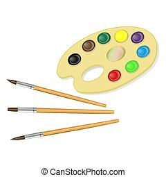 Palette with paints and brush isolated on white