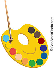 Palette with paints and brushe - vector illustration