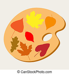 Palette with paints of autumn leaves
