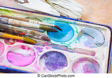 watercolor ink and brush - palette with watercolor ink and...