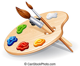 Palette - Wooden palette with paints and brushes - vector...