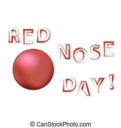 palhaço, bandeira, dia, nariz vermelho
