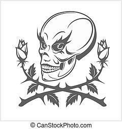 palhaço, branca, cranio, fundo