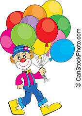 palhaço, com, balões