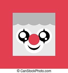 palhaço, emoticon, ícone