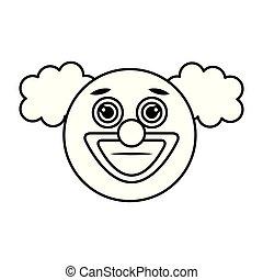 palhaço, emoticon, rosto, ícone