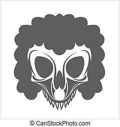 palhaço, fundo branco, isolado, cranio