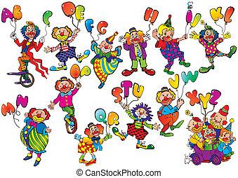 palhaços, com, balloons.