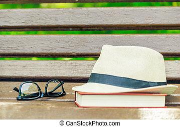 palha, banco parque, madeira, livro, chapéu, grossas, óculos